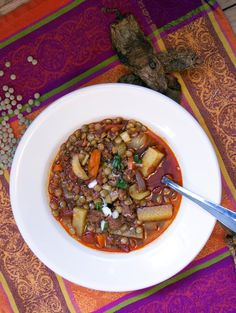 Slow Cooker Mexican Lentil Stew with Chorizo- simplelivingeating.com