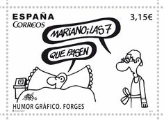 El sello de Forges que hará que te den ganas de volver a escribir cartas Tiny Prints, Humor Grafico, Postage Stamps, Spain, Funny, Fictional Characters, Europe, Wine, Twitter
