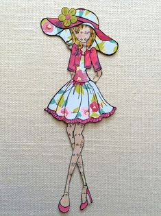 Annie Suzabella: Paper Doll of the Day: Big Hat Bolero doll Prima Paper Dolls, Prima Doll Stamps, Audrey Doll, Birthday Cards For Women, Paper Gift Bags, Mixed Media Canvas, Doll Crafts, Card Tags, Paper Cards