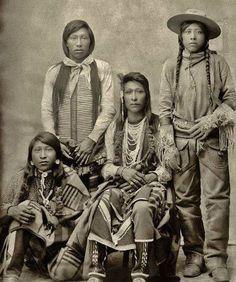 Standing L-R: Jack Edmo (Shoshone), Joe Warren (Bannock) Sitting L-R: James Edmo (Shoshone), Fred Sonnip (Bannock) - circa 1895