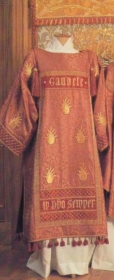 Watts & Co. Today being the feast of St. Lawrence seems a good time to show you all the dalmatic of the rose High Mass set of Downside Abbey, designed by Watts & Co, and based on St. Lawrence's vestments in Fra Angelico's paintings of him.