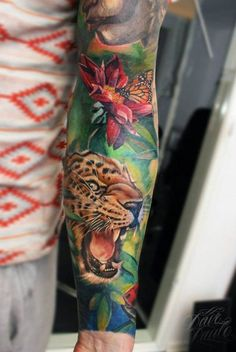 ab094c860 Vivid colors leopard tattoo on long sleeve by Dave Paulo Sea Life Tattoos,  Nature Tattoos