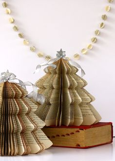 Vintage Book CHRISTMAS TREE /// size small /// made to order
