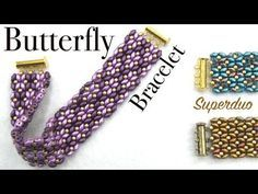 Best Seed Bead Jewelry 2017 Easy Butterfly Bracelet with Superduo Seed Bead Tutorials Beaded Bracelets Tutorial, Beaded Bracelet Patterns, Jewelry Patterns, Beading Patterns, Beads Tutorial, Diy Bracelet, Seed Bead Tutorials, Jewelry Making Tutorials, Beading Tutorials