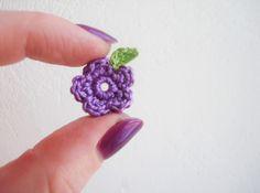 Crochet Tiny Small Purple,Flowers, Set of 7 Crochet Puff Flower, Knitted Flowers, Crochet Flower Patterns, Crochet Motif, Crochet Designs, Crochet Yarn, Knitting Patterns, Crochet Crafts, Yarn Crafts