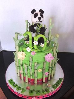 I made this cake for a little girl's 10th birthday – she LOVES Panda bears, so I came up with this design. All decorations are 50/50 gumpaste & fondant.