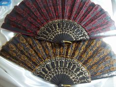 Set of 2 Embellished Asian Hand Fans~free shipping $10.00