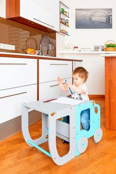 Kitchen step stool for children/ table and chair/montessori Kitchen Step Stool, Kitchen Stools, Kids Table And Chairs, Kid Table, Plywood Furniture, Kids Furniture, Toddler Kitchen, Desk Stool, Learning Tower