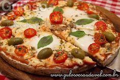 Anote essa Pizza Funcional de Macaxeira com Linhaça, é deliciosa e fácil, fácil para preparar!  #Receita aqui: http://www.gulosoesaudavel.com.br/2015/11/27/pizza-funcional-macaxeira-linhaca/