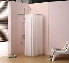 Shower Curtain Rail/Rod, 4 way use, L or U shape with ceiling ...