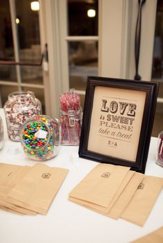 Candy bar sign  Read More: http://stylemepretty.com/2013/10/01/poughkeepsie-wedding-from-isabelle-selby-photography/