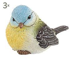 Set de 3 pájaros decorativos de poliresina