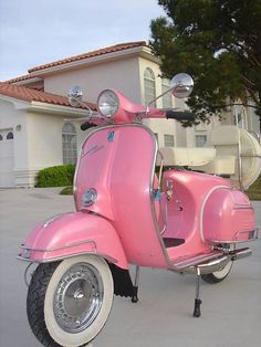 Pink Bubble Gum Vespa :-D http://mymobilityscooters.co.uk/travel-mobility-scooters/
