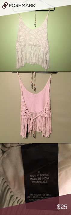 NWT House of Harlow crochet top Open back, ties at back and top, threaded design at ties. Long fringe hangs below crop to cover stomach. House of Harlow 1960 Tops Crop Tops