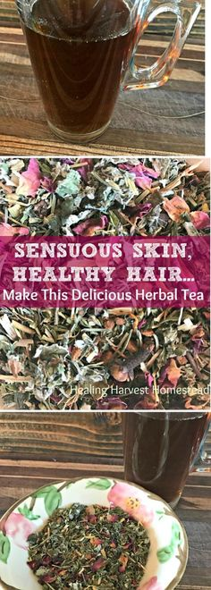 (A Recipe for My Delicious, Nutritious Herbal Tea Blend) — Home Healing Harvest Homestead - Want sensuous, beautiful skin and amazingly healthy hair? You can easily create this beautiful tea! Natural Health Remedies, Herbal Remedies, Herbal Tea Benefits, Herbal Teas, Health Benefits, Savon Soap, Homemade Tea, Tea Blends, Healing Herbs