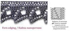 View album on Yandex. Lace Knitting Stitches, Knitting Basics, Lace Knitting Patterns, Knitting Charts, Stitch Patterns, Crochet Borders, Crochet Motif, Knit Edge, Knitted Necklace