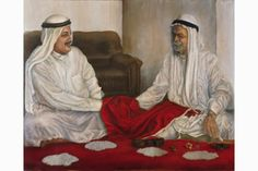 """A glimpse of the world of pearl trading in Qatar during the middle of the twentieth century. Two pearl merchants from the era are negotiating the price of pearls using a special hand language, with a red cloth carefully shielding their hands from the people around them.  Dimensions of the painting: 54"""" x 40""""  Reproductions may be purchased at: http://sylvia-castellanos.pixels.com/featured/merchants-bargaining-over-pearls-sylvia-castellanos.html"""