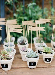 Succulent favors: http://www.stylemepretty.com/california-weddings/malibu/2016/05/20/think-your-bridesmaids-cant-wear-white-think-again/   Photography: Mariel Hannah - http://www.marielhannahphoto.com/
