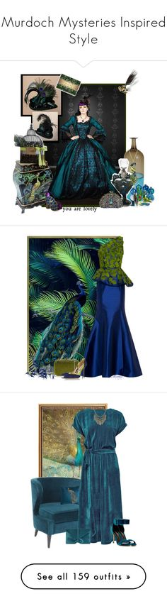 """Murdoch Mysteries Inspired Style"" by yours-styling-best-friend ❤ liked on Polyvore featuring Venini, Irregular Choice, Shameless, steampunk peacock, Andrew Gn, Judith Leiber, Oscar de la Renta, Trademark Fine Art, Lattori and Liliana"