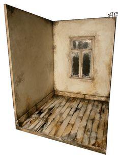 Diorama OOAK / BRIGHT ROOM / vintage interior old von ZLOTYPTAK