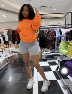Dope outfits Neon Orange Reflective OG Print Sweatshirt – Only The Fresh Survive Bra Sizes Bra Sizes Cute Comfy Outfits, Chill Outfits, Cute Casual Outfits, Short Outfits, Ghetto Outfits, Baddie Outfits Casual, Baddies Outfits, Casual School Outfits, Casual Wear