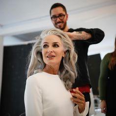 "407 Likes, 36 Comments - Caroline Labouchere (@carolinelabouchere) on Instagram: ""Getting really excited..... #no1rosemarywater #greymodel #greyhairdontcare #bestdayever #greyhair…"""