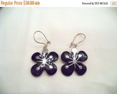 Flower Dangle Earrings with Sterling Silver and Black by Zeppola