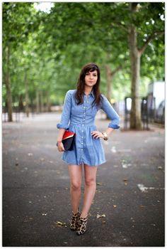 how to wear a denim dress..