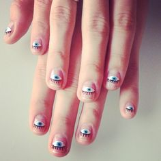 Evil eye nails // Halloween inspiration reminds me of you! Love Nails, How To Do Nails, Fun Nails, Pretty Nails, Evil Eye Nails, Nail Games, Fabulous Nails, Nail Tutorials, Manicure And Pedicure