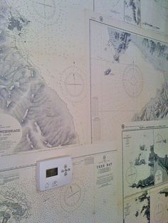 Decoupage walls with old maps