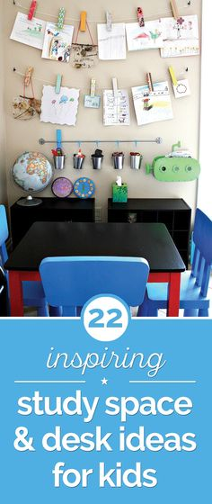 22 Inspiring Study Space & Desk Ideas for Kids - thegoodstuff Curtain Rings With Clips, Curtains With Rings, Study Rooms, Study Space, Kids Room Art, Kids Room Design, Classroom Desk, Colored Tape, Crayon Holder