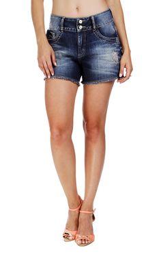 Short Jeans Aplicação Morena Rosa