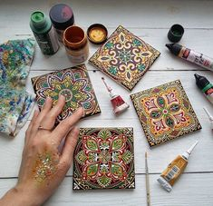 Buy tiles for hand painted coasters Dot Painting, Ceramic Painting, Stone Painting, Mandala Design, Mandala Art, Book Crafts, Arts And Crafts, Tile Crafts, Sculpture Projects