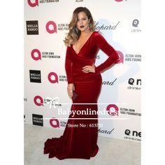 36c0b41a504 Aliexpress.com   Buy New Arrival 2014 Khloe Kardashian Burgundy Velvet V  neck Long Sleeves Celebrity Evening Dresses Elton John s Oscars Party from  Reliable ...
