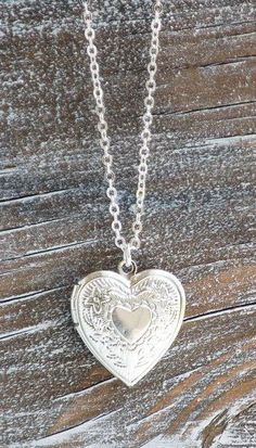 Silver HEART LOCKET Pendant - This is similar to the locket my hubby gave me on my birthday - we are now married 50 yrs! Gold Locket, Silver Lockets, Heart Locket, Locket Necklace, Pendant Necklace, Locket Charms, Necklace Chain, Turquoise Jewelry, Silver Jewelry