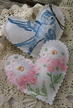 ♥ Good idea for antique linens that have disintigrated ....save the embroidery parts