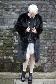 Faux Fur Midi Coat Black