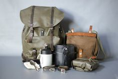 WE SHIP EVERYWHERE! Please contact us if your country is not listed. ---------------- A very special set of Swiss Army items from the including a Swiss Army waterproof vinyl backpack, a Swiss Army bread bag or haversack and many accessories, including two Swiss Army Backpack, Swiss Army Bag, Military Fashion, Military Style, Fishing Backpack, Chest Rig, Vintage Backpacks, Waterproof Backpack, Bushcraft