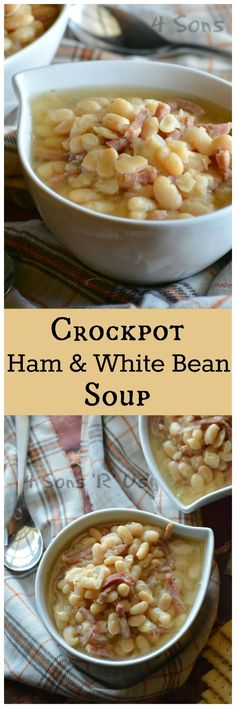 This Crockpot Ham & White Bean Soup is an easier, set it and forget it variation of the classic. It's super simple with a very short ingredient list, which can make it quite a delightful surprise when (Sausage Recipes Crockpot) Crock Pot Soup, Crockpot Dishes, Crock Pot Slow Cooker, Crock Pot Cooking, Slow Cooker Recipes, Cooking Recipes, Crockpot Ham And Beans, Easy Crockpot Soup, Baked Beans Crock Pot