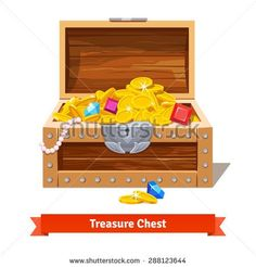 Treasure chest full of gold coins, crystal gems and jewellery. Flat vector…