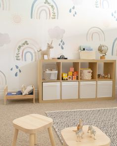 Modern Playroom with Rainbow Decals - Project Nursery - Project Nursery - Modern Playroom with Rainbow Decals - Project Nursery Modern playroom storage with muted rainbow decals - Playroom Table, Playroom Wall Decor, Modern Playroom, Toddler Playroom, Playroom Storage, Playroom Furniture, Playroom Design, Kids Room Design, Baby Room Decor