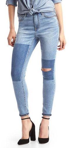 STRETCH 1969 patchwork true skinny super high rise jeans