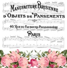 Vintage Sheet Music and Floral Background