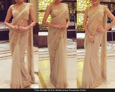 Net & Brocade Border Work Beige Saree - 73 at Rs 1500
