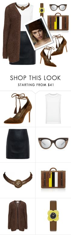 """Choco"" by liligwada ❤ liked on Polyvore featuring Joie, St. John, McQ by Alexander McQueen, Le Specs Luxe, Chanel, Ghurka, Zizzi and Orla Kiely"