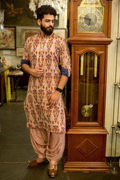 #men's wear #pochampally #handloom fabric #Shilpa Reddy Studio Sherwani For Men Wedding, Wedding Dresses Men Indian, Wedding Dress Men, Wedding Men, Sherwani Groom, Punjabi Wedding, Indian Weddings, Farm Wedding, Wedding Couples