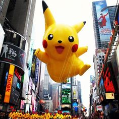 Yay Pikachu is sailing over the Macy's Thanksgiving Day Parade. Did you know Jim Malone, CounterEv founder was original voice director for Pokemon? Fun facts. #Eco #Design