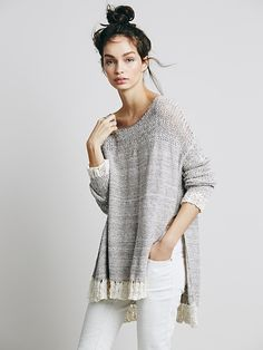 oversized boxy pullover with reverse stockinette in body, chunky rib for yoke