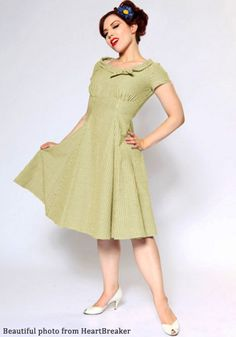 Indie, Retro, Party, Vintage, Plus Size, Convertible, Cocktail Dresses in Canada Beverly Dress in Olive Gingham - Vintage inspired beauty by Heartbreaker. Full Swing Skirt. Round collar with cute self tie. Retro. .