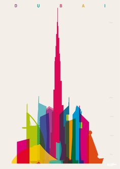 Shapes of Dubai. Accurate to scale. Art print